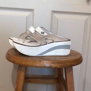 White and Silver Platform Flip Flop/Sandals